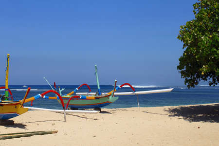 Colorful outrigger boats in Bali
