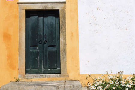 Detail of old house in Obidos, Portugal Stock Photo