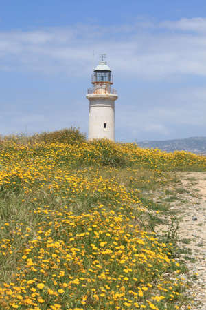 Lighthouse and yellow flowers in Paphos, Cyprus