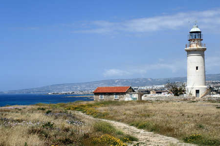 Lighthouse at the archaeological site in Paphos, Cyprus