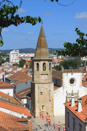 Church and clock tower of Sao Joao Baptista in Tomar, Portugal