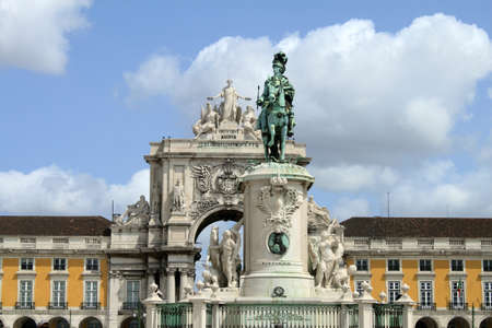 Detail of Praca do Comercio in Lisbon, Portugal