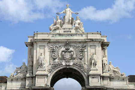 The triumphal arch at Praca do Comercio in Lisbon, Portugal