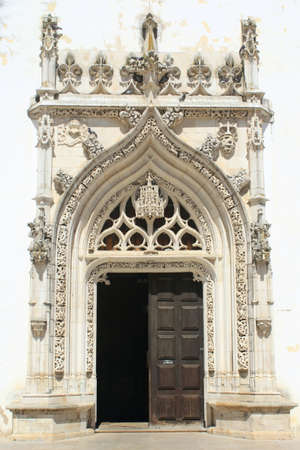 Entrance door of church in Tomar, Portugal photo