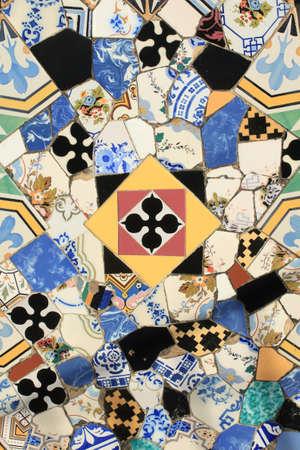 spanish  architecture: Mosaics decoration in Barcelona, Spain