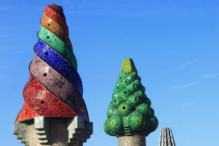 Chimneys of Guell Palace in Barcelona, Spain
