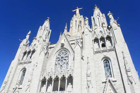 tibidabo: Gothic church at Tibidabo mountain in Barcelona, Spain Stock Photo