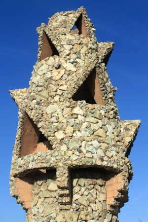 Chimney of Palau Guell in Barcelona, Spain Stock Photo
