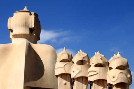 Chimneys of Casa Mila in Barcelona, Spain