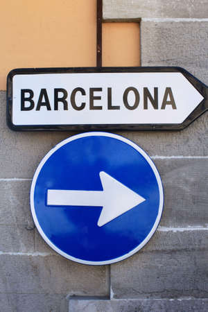 whote: Road sign to Barcelona, Spain