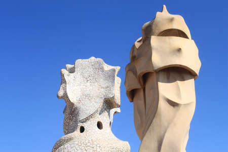 Chimneys of Casa Mila in Barcelona, Spain