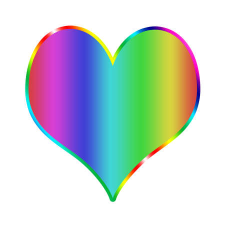 Ilustración del corazón del arco iris en el fondo blanco
