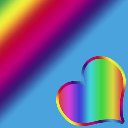 Illustration of Rainbow heart on rainbow background Stock Photo