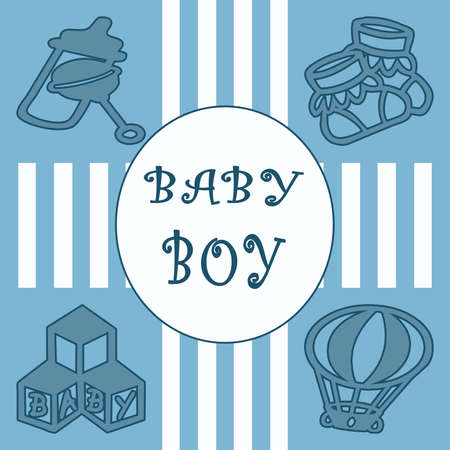 Baby boy card with stripes and squares photo