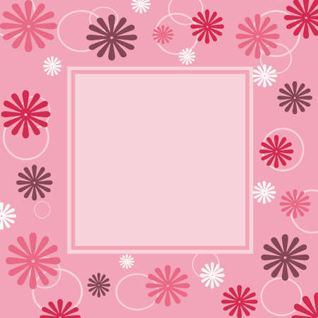 Pink frame with flowers decoration