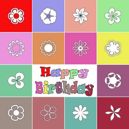 Colorful birthday card with flowers decoration