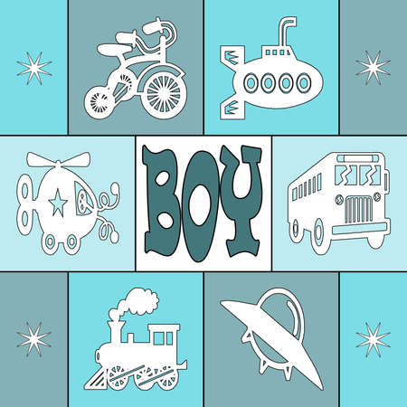Baby boy card with squares Stock Photo