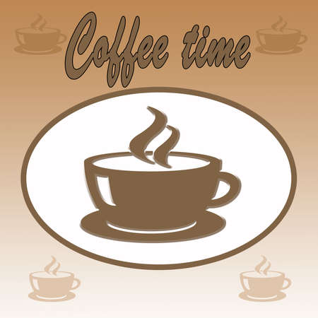 Illustration of Coffee Time on brown background