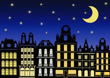 Illustration of city at night