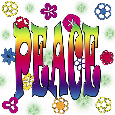 Illustration of PEACE with colorful flowers on white background illustration