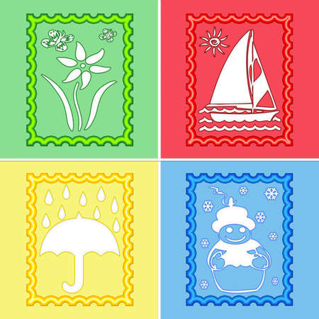 Illustration of Four Seasons in stamp shape