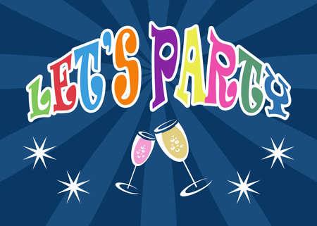 let s: Let s party illustration on blue background
