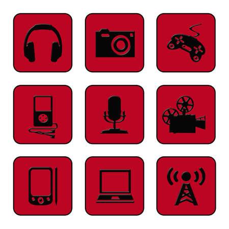 Set of multimedia icons on white background
