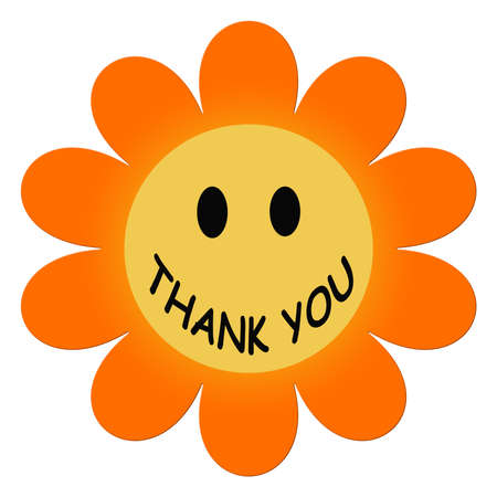 Thank you  illustration in flower shape on white background