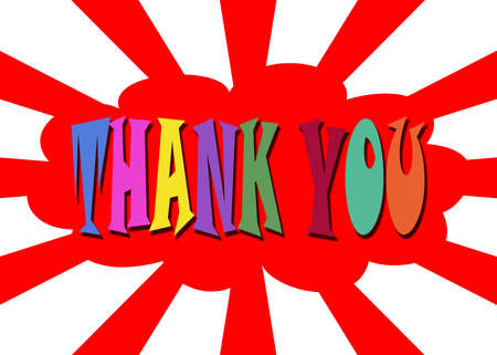 Illustration of Thank you in red cloud illustration