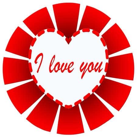 I love you illustration on red sunburst Stock Photo