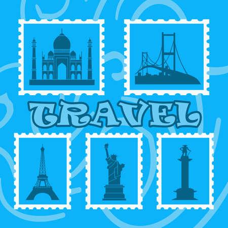 historical sites: Historical sites stamps illustration on blue background Stock Photo