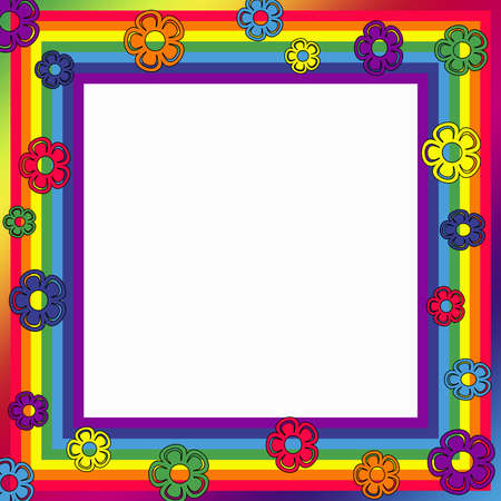 Rainbow frame with colorful flower decoration photo