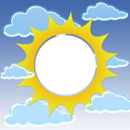 Sun shape frame with clouds