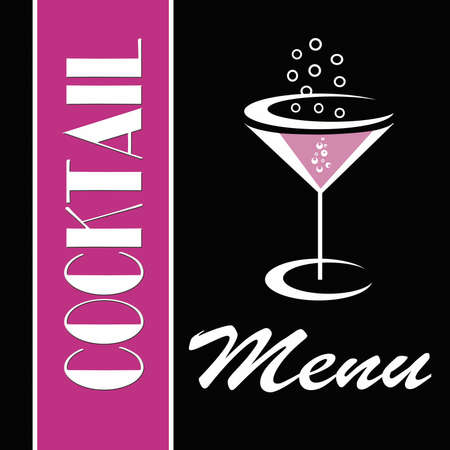 Cocktail menu in pink and black photo