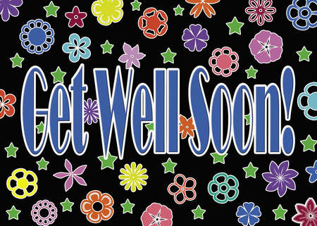 get well soon: Get well soon card with colorful flowers Stock Photo