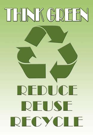 think green: Piensa en verde ilustraci�n con s�mbolo de reciclaje