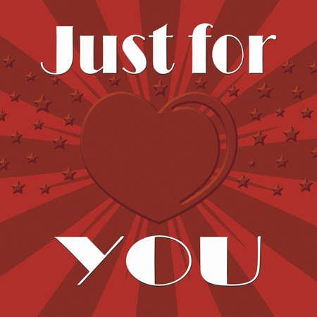 Just for you illustration with heart shape on sunburst background illustration