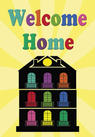 Welcome home illustration on yellow sunburst background
