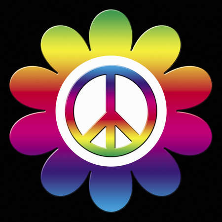 Rainbow flower illustration with peace symbol illustration