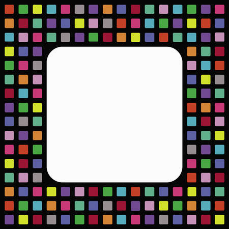 Black frame with colorful mosaic decoration Stock Photo