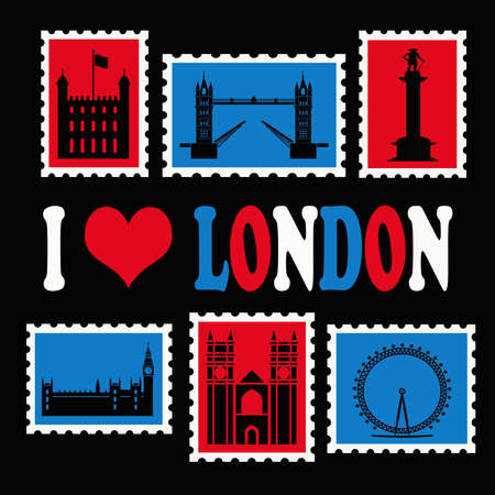 I love London illustration on black background Stock Photo