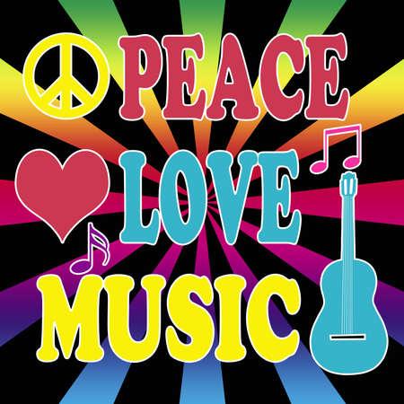 Peace, love, music illustration on rainbow sunburst background