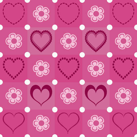 Wallpaper with heart and flower shapes
