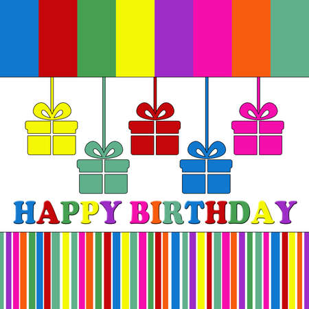 Birthday card with colorful stripes and gift boxes