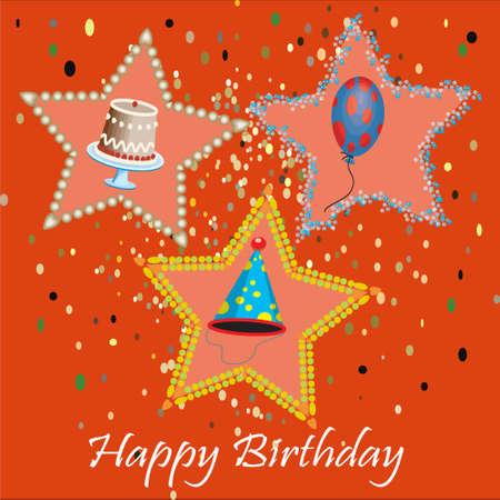 Birthday card with stars on orange background Vector