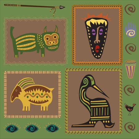continente africano: Conjunto de elementos de diseño africano