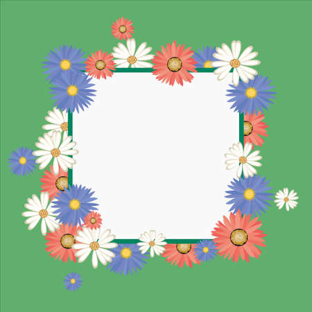 personalize: Vector frame with colorful flowers