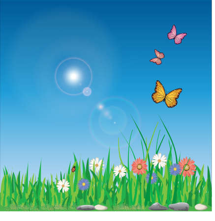 Vector illustration of spring with colorful flowers
