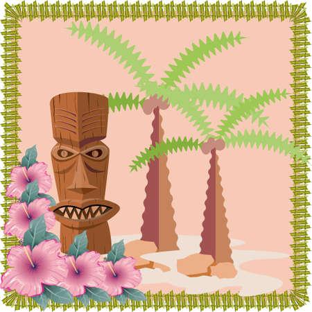 Hawaiian vector illustration with tiki statue
