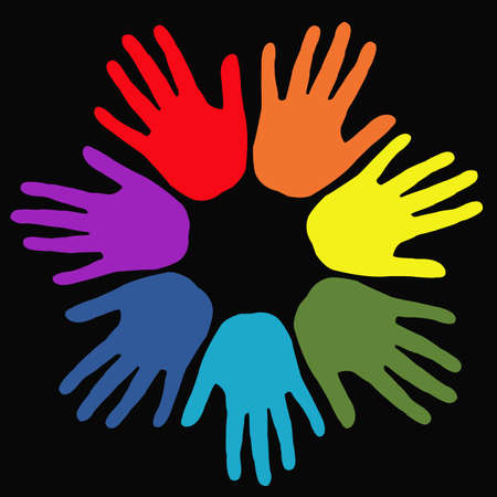 Hands in rainbow colors on black background